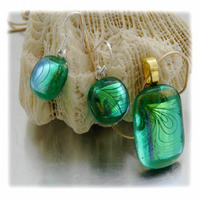 Dichroic Glass Pendant Earring Set 054 Aqua Swirl with gold plated chain