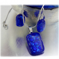 Dichroic Glass Pendant Earring Set 056  Blue Glitter with silver plated chain