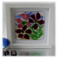 Fused Glass Flower Picture Box Framed 002