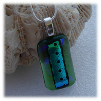 Dichroic Glass Pendant 097 Green Spot handmade fused with silver plated chain