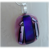 Dichroic Glass Pendant 083 Pink Purple Handmade with silver plated chain