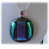 Dichroic Glass Pendant 073 Plum Turquoise Handmade with silver plated chain