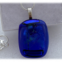 Dichroic Glass Pendant 039 Royal Blue Handmade with silver plated chain