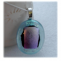 Dichroic Glass Pendant 080 Ice Silver Handmade with silver plated chain