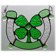 Good Luck Horseshoe Clover Shamrock Stained Glass Suncatcher 001