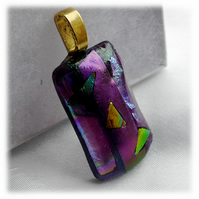 Dichroic Glass Pendant 029 Plum Shine Handmade with gold plated chain