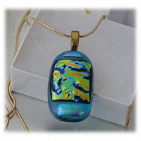 Dichroic Glass Pendant 095 Aqua Gold Glitter Handmade with gold plated chain