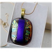 Dichroic Glass Pendant 071 Plum Purple Glitter Handmade with gold plated chain