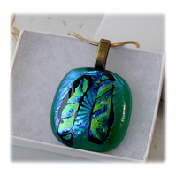 Dichroic Glass Pendant 091 Emerald Stripe Handmade with gold plated chain