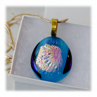 Dichroic Glass Pendant 054 Aqua Pink Glitter Handmade with gold plated chain