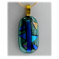 Dichroic Glass Pendant 081 Aquamarine Abstract Handmade with gold plated chain