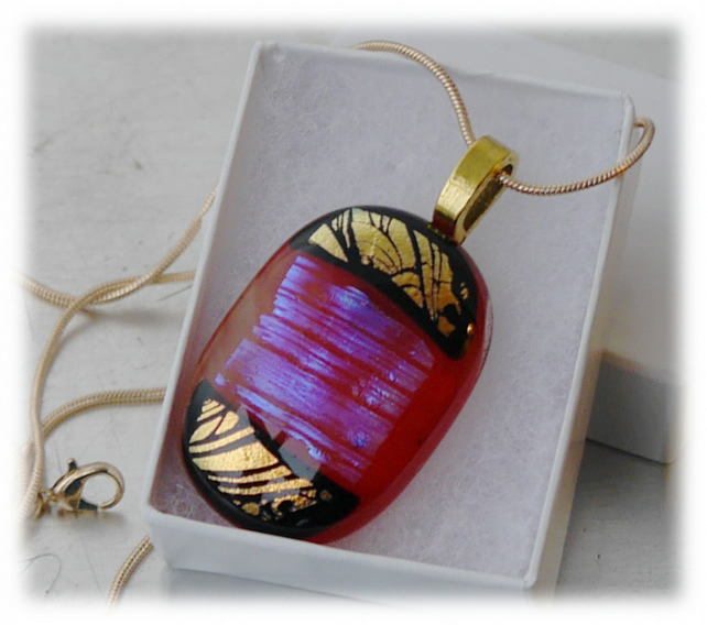 Dichroic Glass Pendant 089 Red Gold Black Handmade with gold plated chain