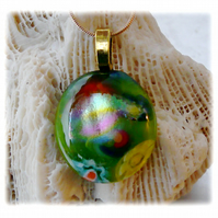 Dichroic Glass Pendant 061 Green Floral Handmade with gold plated chain