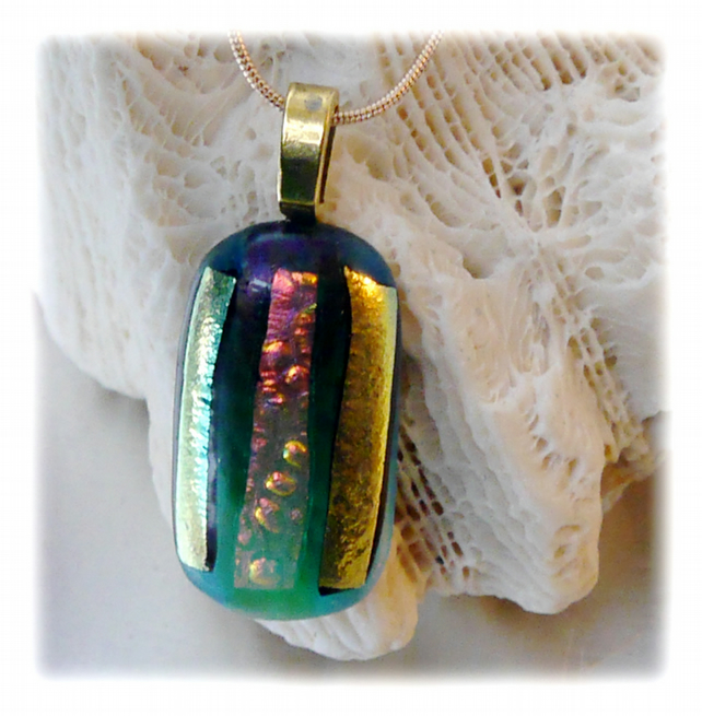 Dichroic Glass Pendant 088 Emerald Gold Stripe Handmade with gold plated chain