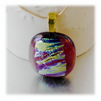 Dichroic Glass Pendant 059 Cranberry Gold Handmade with gold plated chain