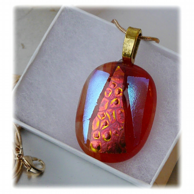 Dichroic Glass Pendant 075 Red Streak Triangle Handmade with gold plated chain