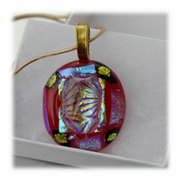 Dichroic Glass Pendant 077 Red Aqua Shimmer Handmade with gold plated chain