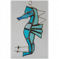 Seahorse Stained Glass Suncatcher Turquoise Handmade 028