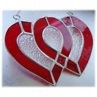 Entwined Heart Suncatcher Stained Glass Red Ruby Wedding 010