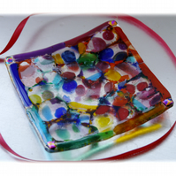 Rainbow Square Glass Trinket Dish 12cm Swirl Nugget