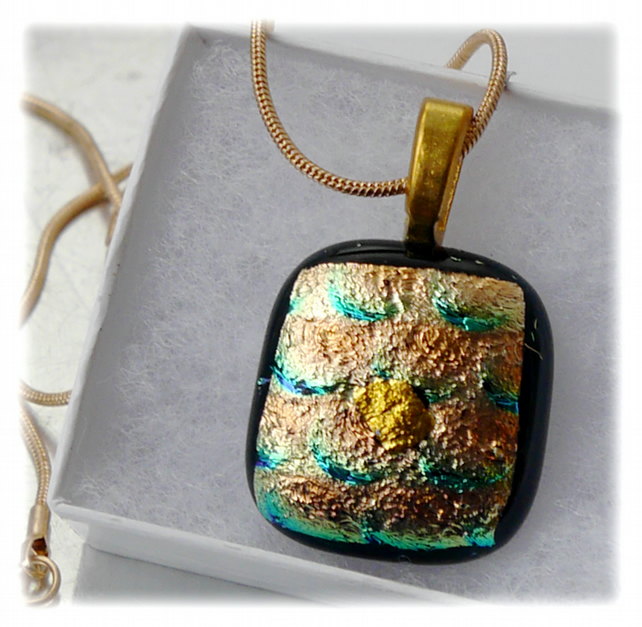 Dichroic Glass Pendant 036 Gold Foil Glitter Handmade with gold plated chain