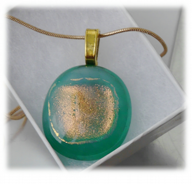 Dichroic Glass Pendant 048 Teal Gold Shimmer Handmade with gold plated chain