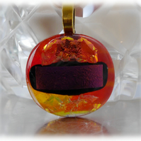 Dichroic Glass Pendant 050 Red Fire Handmade with gold plated chain