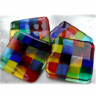 Fused Glass Coaster 8cm Rainbow patchwork Y5 Y6