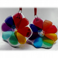 Rainbow Fused Glass Flower Suncatcher Dichroic