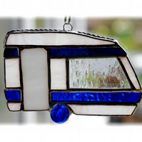 Caravan Suncatcher Stained Glass Classic Blue 042