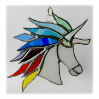 Unicorn Suncatcher Stained Glass Handmade Rainbow 012 Serendipity