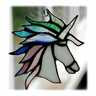 Unicorn Suncatcher Stained Glass Handmade Pastel 013 Serenity