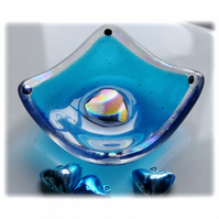 Earring Ring Dish Fused Glass 7cm Turquoise Dichroic Heart 015