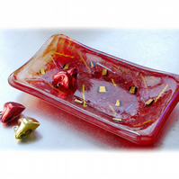 Fused Glass Dish Soap Trinket Snack Red Dichroic 010
