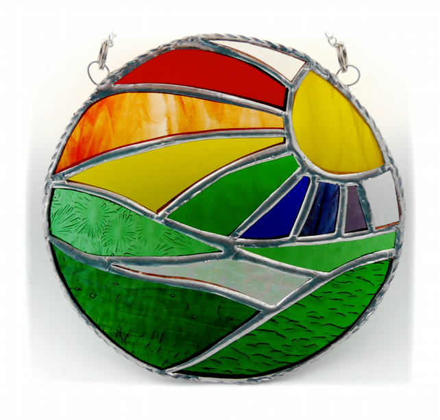 New Day Stained Glass Suncatcher Handmade Rainbow Ring 017