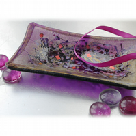 Fused Glass Dish Soap Trinket Snack Purple Dichroic 011