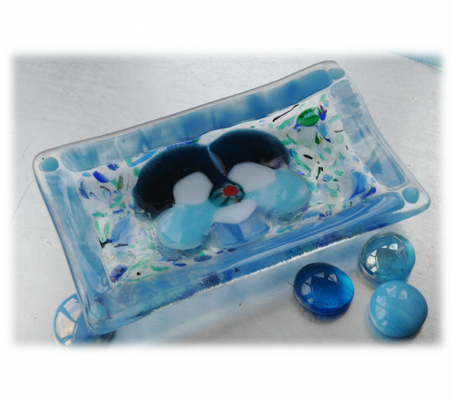 Fused Glass Dish Soap Trinket Snack Turquoise Pansy
