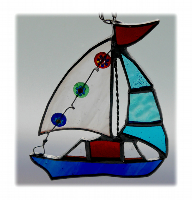 Boat Suncatcher Stained Glass Sailboat Yacht 060