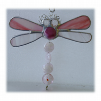 Dragonfly Suncatcher Stained Glass Pink Bead-Tailed 027
