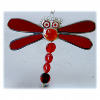 Dragonfly Suncatcher Stained Glass Red Bead-Tailed 028