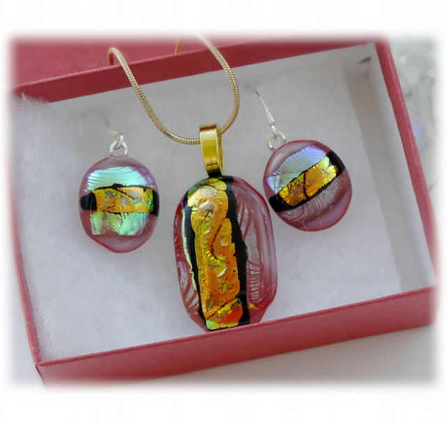 Dichroic Glass Pendant Earring Set 059 Red Copper Stripe with gold plated chain