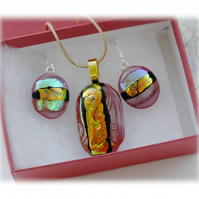 Dichroic Glass Pendant Earring Set 059 Red Coper Stripe with gold plated chain