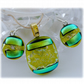 Dichroic Glass Pendant Earring Set 058 Lime Citrus with gold plated chain