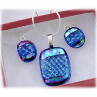 Dichroic Glass Pendant Earring Set 060 Blue Aqua check with silver plated chain