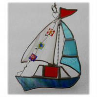 Boat Suncatcher Stained Glass Sailboat Yacht 062