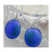 Handmade Fused Dichroic Glass Earrings 188 Blue Green shimmer