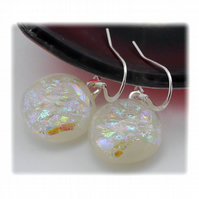 Handmade Fused Dichroic Glass Earrings 192 Ivory Sparkle