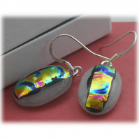 Handmade Fused Dichroic Glass Earrings 191 White Rainbow Streak