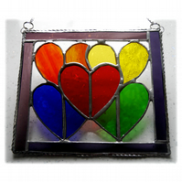 Rainbow Hearts Picture Stained Glass Suncatcher 003