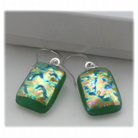 Handmade Fused Dichroic Glass Earrings 193 Green Sparkle